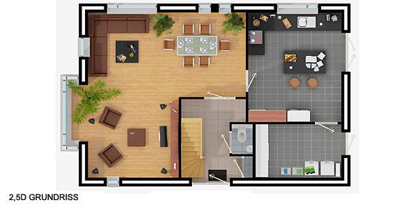 Einfamilienhaus grundriss 3d  Grundriss zeichnen: Ihr Haus in 3D! | Beste Qualität zum besten Preis!